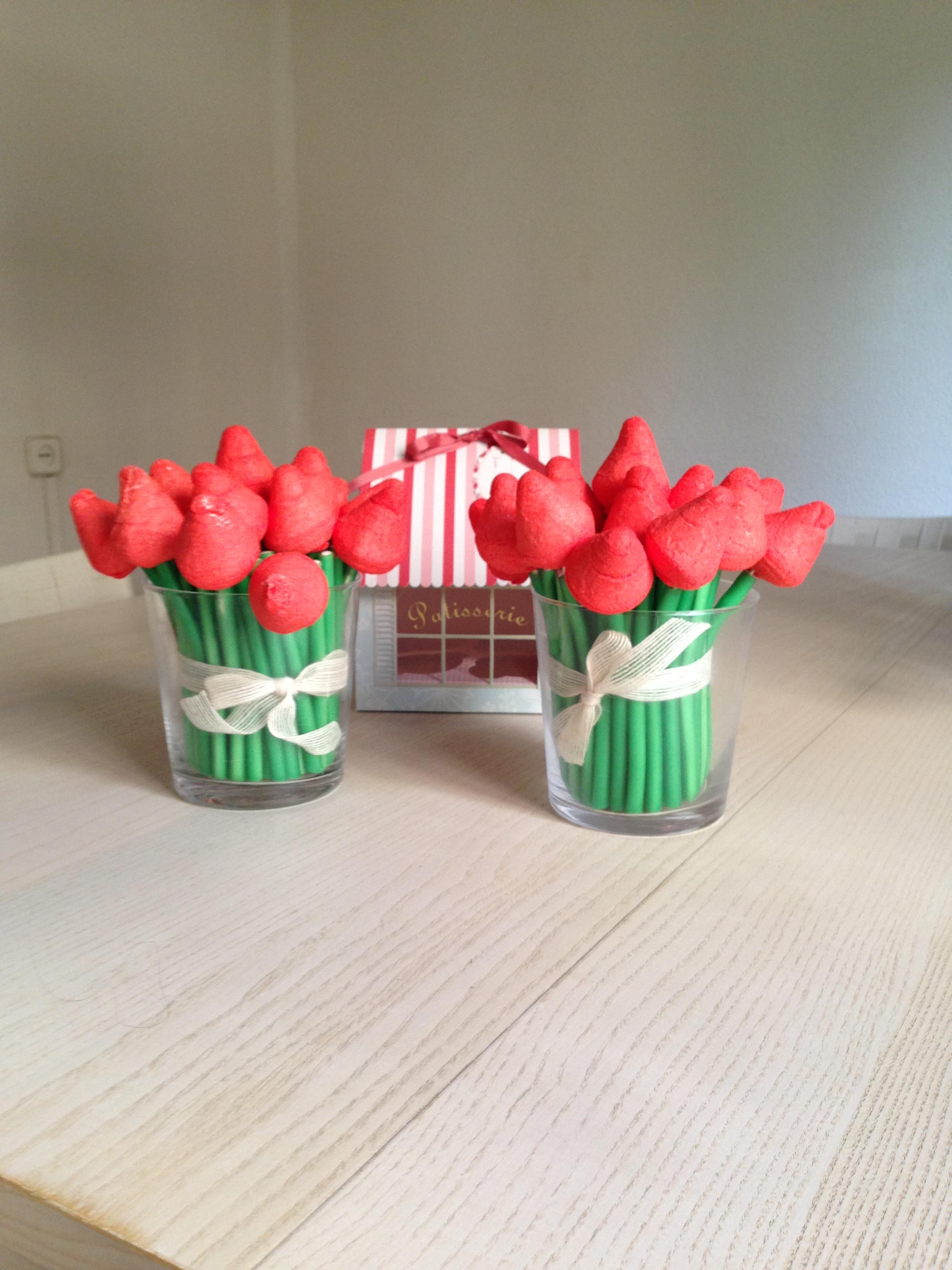 Tulipanes de chucher as bocados dedicados - Centro de mesa de chuches ...