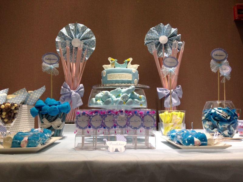 Mesa bautizo azul bocados dedicados - Chuches para bautizo ...